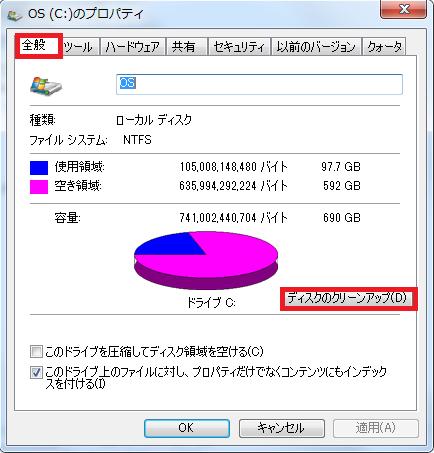 プロパティの画面が開くのでディスククリーンアップをクリック