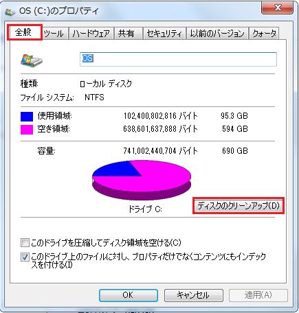 Windows7 ディスククリーンアップのやり方その3 Cドライブの画面が開くのでディスクのクリーンアップをクリック