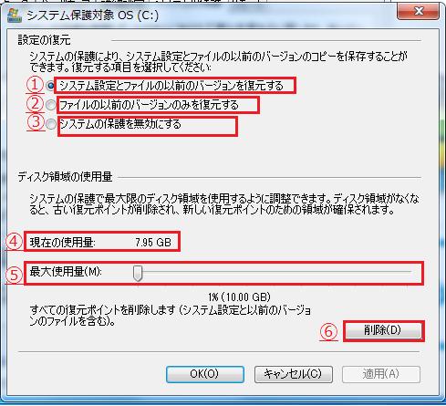 Windows7 シャドウコピーの設定4 システム保護対象の項目の説明