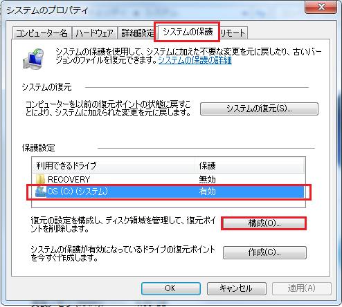 上のタブがシステムの保護になっている事を確認しCドライブを選択し構成をクリック