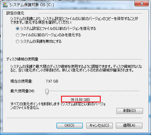 変更前の最大使用量は1%(6.9GB)