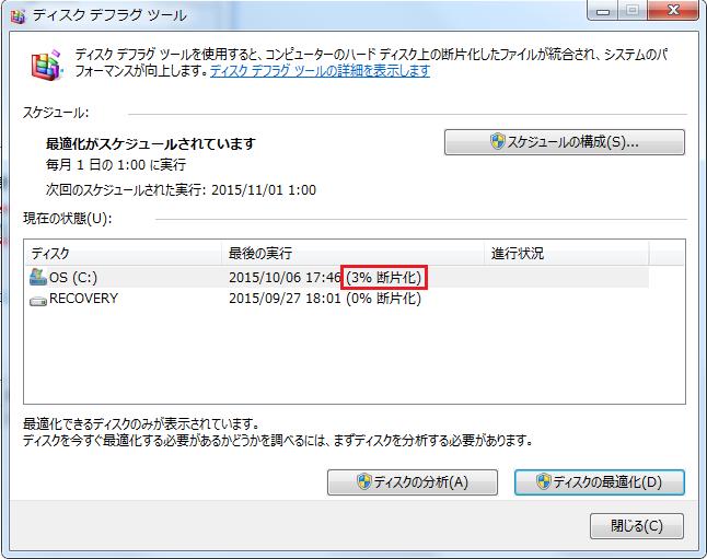 Windows7 デフラグの案内10 ディスク分析が終わりCドライブの断片化が3%と表示