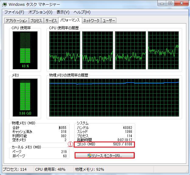 コミットの数値5823MBをメモしリソースモニターを左クリック
