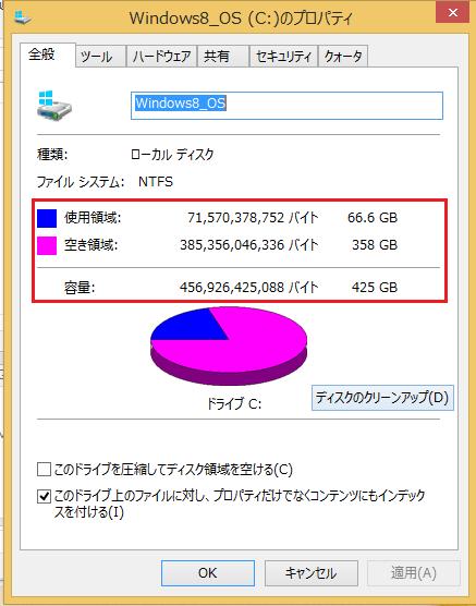 Windows8 ハードディスクの容量の確認の仕方8 詳細を確認することが出来る