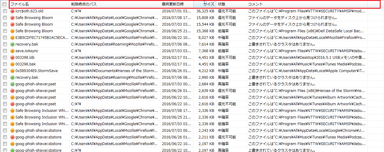 各個目のファイル名などを左クリックしあいうを順に並べ替えることが出来る