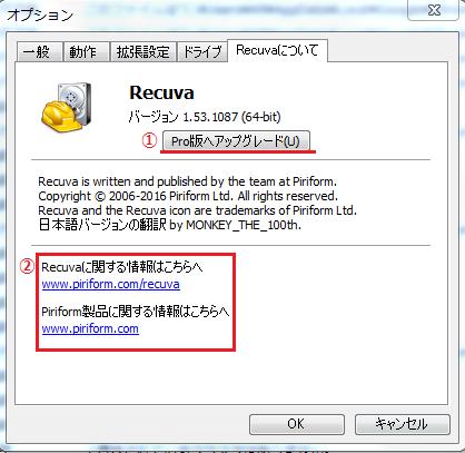 Recuvaについての各項目の説明