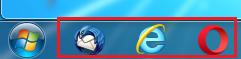 クイック起動とはデスクトップの左下にあるスタートメニューの右側の事を言う
