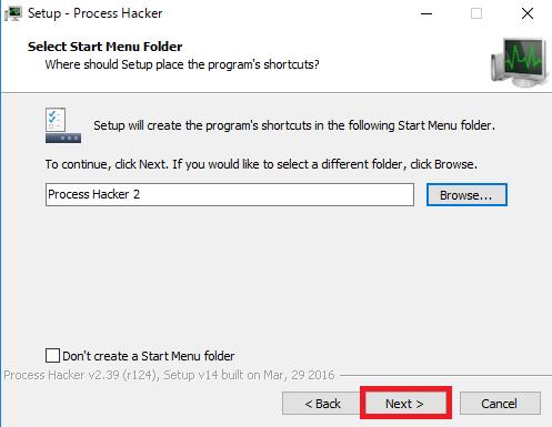 Process Hackerをスタートメニューに登録したいのであればそのままnextを左クリック