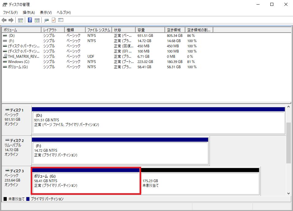 フォーマット完了後、システムファイルなどの情報が表示される
