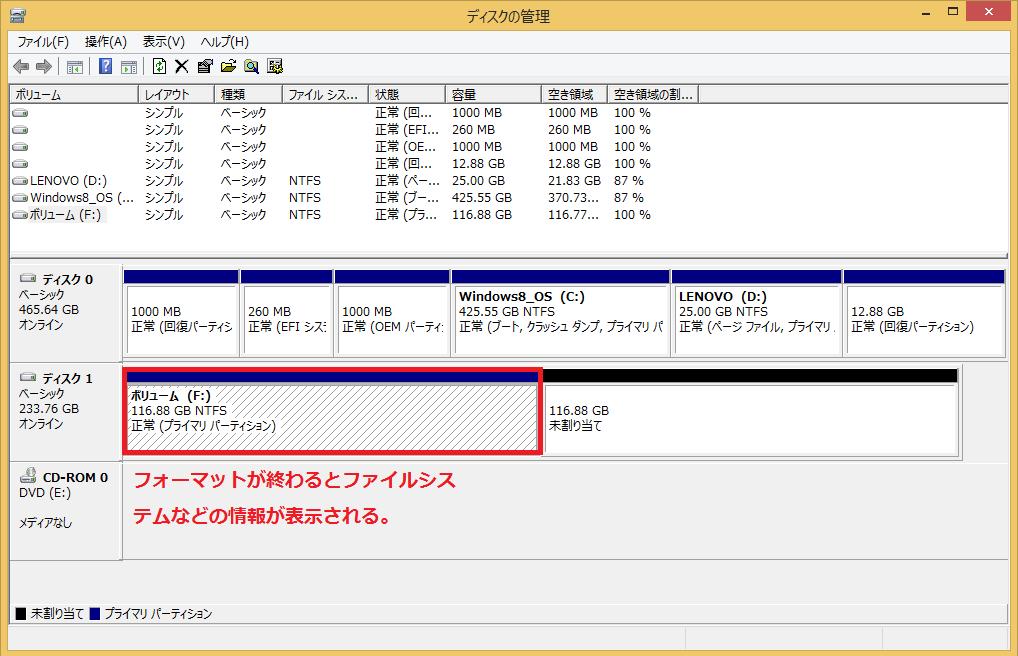 フォーマットが終わるとファイルシステムなどの情報が表示される。
