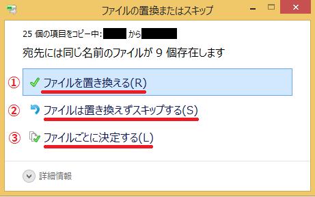 ファイルを置き換えるかどうか選択します。