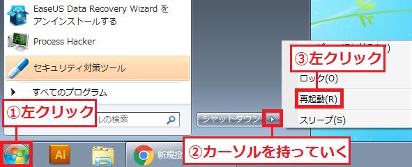 「①スタート」ボタンを左クリック→「②」にカーソルを持っていく→「③再起動」を左クリック。
