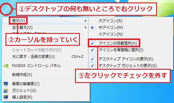 ①デスクトップの何も無いところで右クリック→②表示→「③アイコンの自動整列」のチェックを左クリックで外す。