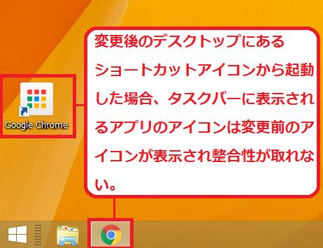 変更後のデスクトップにあるショートカットアイコンから起動した場合、タスクバーに表示されるアプリのアイコンは変更前のアイコンが表示され整合性が取れない。