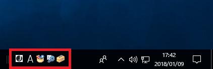 タスクバー、もしくはデスクトップに消えた「言語バー」が表示されたことを確認します。