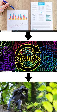 Windows10 画像スライドショーに変更したときのデスクトップの状態