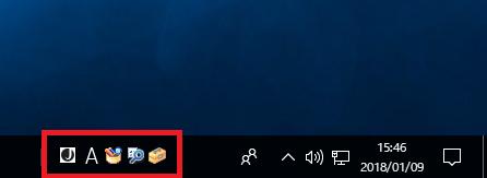 Windows10 言語バーのアイコンも一緒に表示している状態