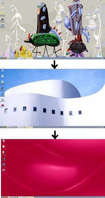 Windows7 「スライドショー」に設定したデスクトップ画面