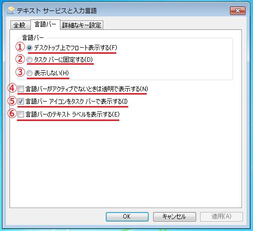 Windows7 テキストサービスと入力言語の各項目の説明