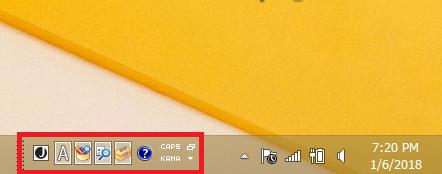Windows8/8.1 言語バーのアイコンも一緒に表示している状態