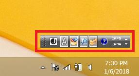 Windows8/8.1 言語バーのアイコンがデスクトップに表示されている状態