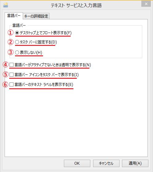 ①デスクトップ上でフロートする、②タスクバーに固定する、③表示しない、④言語バーがアクティブでないときは透明で表示する、⑤言語バーアイコンをタスクバーで表示する、⑥言語バーのテキストラベルを表示する