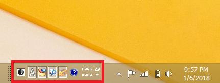 Windows8/8.1 言語バーのアイコンがタスクバーに表示されている状態