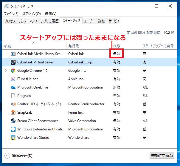 Windows10 タスクマネージャーのスタートアップに登録されているアプリケーション画面