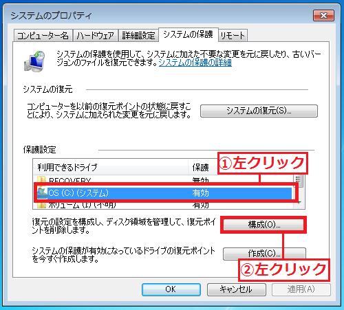 復元ポイントの容量を減らしたい「①ドライブ」を左クリック→「②構成」を左クリック。
