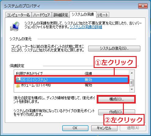 復元ポイントを自動設定で設定したい「①無効のドライブ」を左クリック→「②構成」を左クリック。