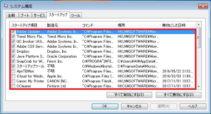 Windows7 msconfig(システム構成)