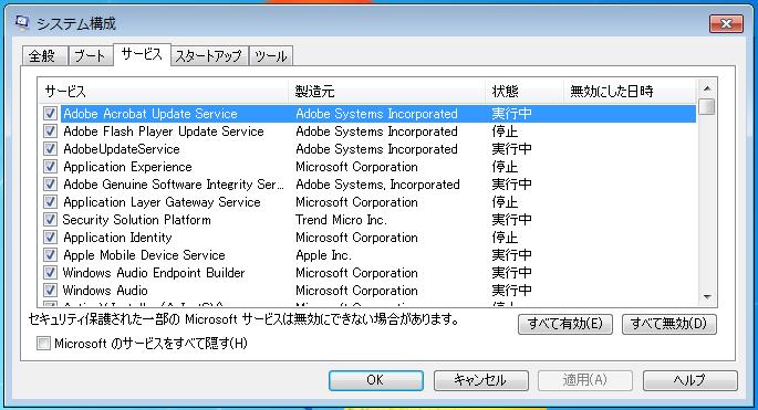 Windows7 msconfig(システム構成)の画面