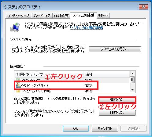 復元ポイントを削除したい「①ドライブ」を左クリックで選択'「②構成」を左クリック。