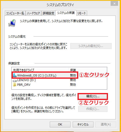 復元ポイントを自動で作成した「①ドライブ」を左クリック→「②構成」を左クリック。