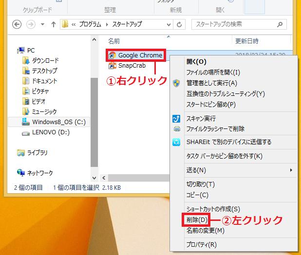 削除したい「①ショートカットアイコン」を右クリック'「②削除」を左クリック。