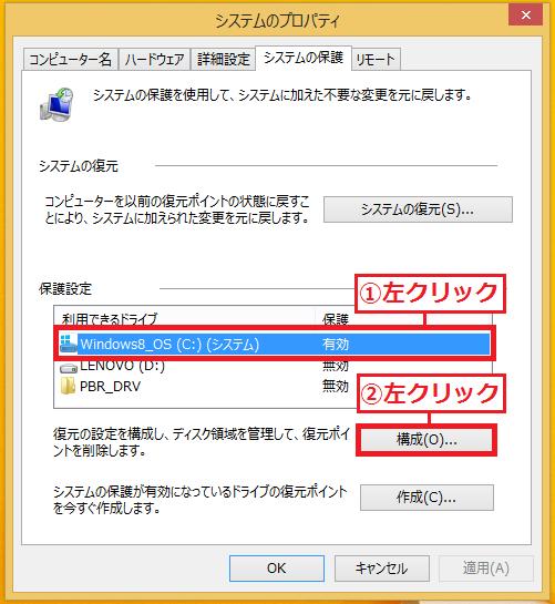 復元ポイントを削除したい「①ドライブ」を左クリック→「②構成」を左クリック。