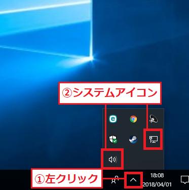 Windows10 システムアイコンが隠れている状態