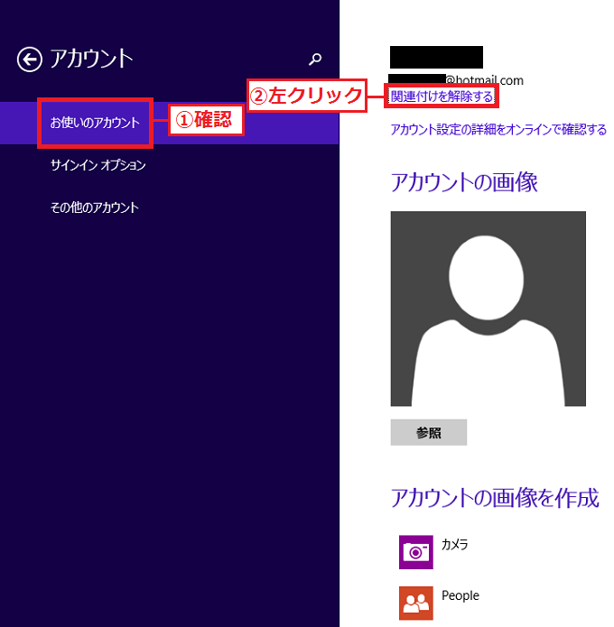 左の項目が「①お使いのアカウント」になっていることを確認→「②関連付けを解除する」を左クリック。