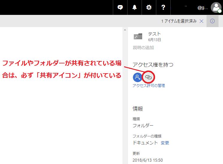 共有されているファイルやフォルダーには必ず「共有アイコン」が付いています。