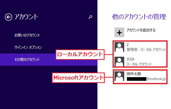 ローカルアカウントとMicrosoftアカウントの表示について