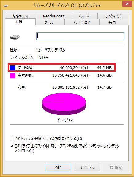 このUSBメモリはファイルは一切入っていないのですが、使用領域が44.5MBとなっています。