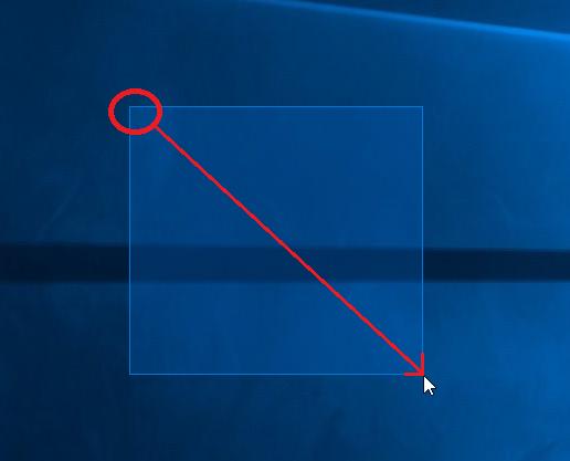 デスクトップの何もないところで、マウスを左クリック長押しで右下に引っ張って行くと、白い枠が表示されます。