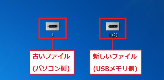 古いファイル(パソコン側)と新しいファイル(USBメモリ側)の両方のファイルを残すことになり、同じファイル名にならないように番号が追加されます。ここでは「1(2)」となっています。
