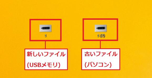 両方にチェックを入れると両方のファイルを残すことになり、同じファイル名にならないように番号が自動で追加されます。ここでは「1(2)」となっています。