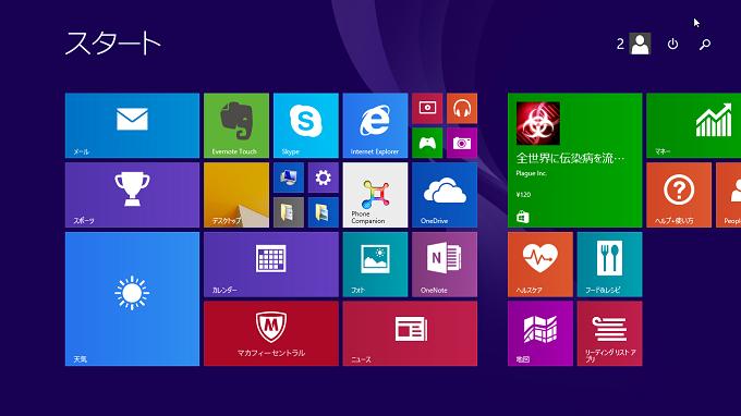 【Windows8/8.1】 画面が切り替わり「パネル」が表示される。