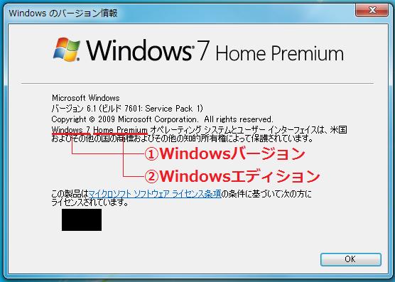ここではWindows7が「①Windowsバージョン」、Home Premiumが「②Windowsエディション」となります。