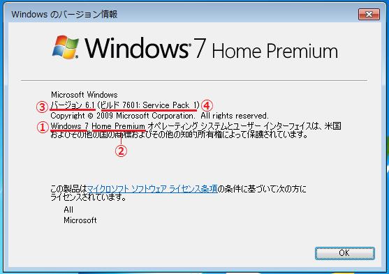 OSのバージョンを確認するには「③OSのバージョン番号」を確認します。