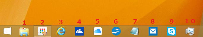 タスクバーに登録されているアイコンは、左から数えて10個をショートカットキーで呼び出すことが出来ます。
