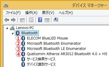 ①ELECOM BlueLED Mouse ②Microsoft Bluetooth Enumerator ③Microsoft Bluetooth LE Enumerator ④Qualcomm Atheros AR3012 Bluetooth4.0+HSの4つのBluetoothドライバーについての説明