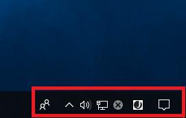 Windows10 タスクバーの通知領域に時計を非表示にしている状態